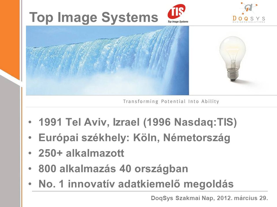 Top Image Systems 1991 Tel Aviv, Izrael (1996 Nasdaq:TIS)