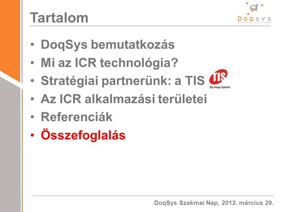 Tartalom DoqSys bemutatkozás Mi az ICR technológia