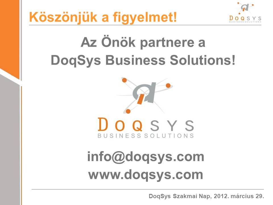 Az Önök partnere a DoqSys Business Solutions!