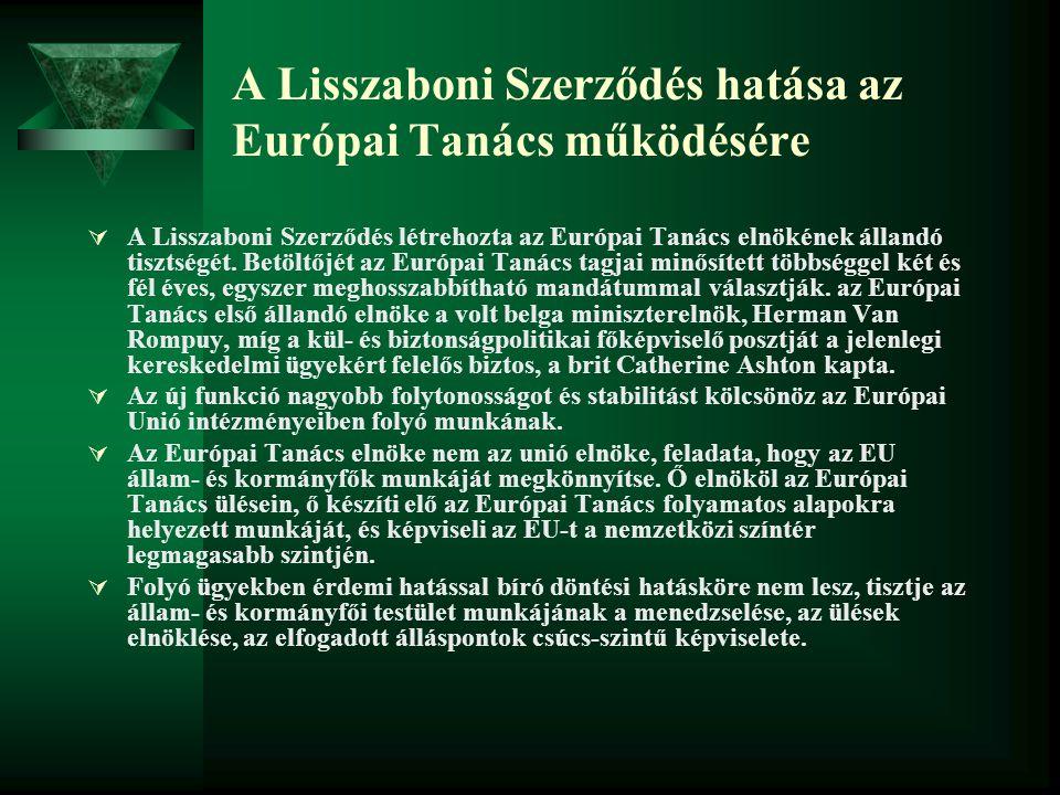 A Lisszaboni Szerződés hatása az Európai Tanács működésére