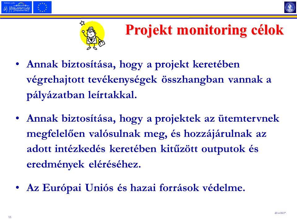 Projekt monitoring célok