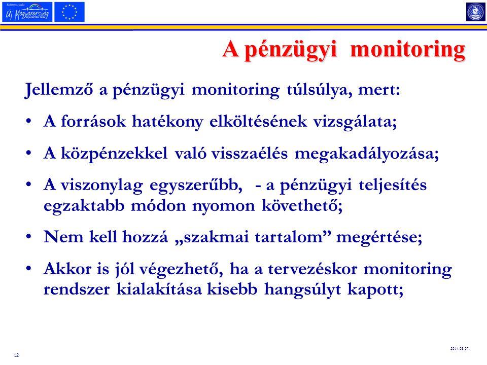 A pénzügyi monitoring Jellemző a pénzügyi monitoring túlsúlya, mert: