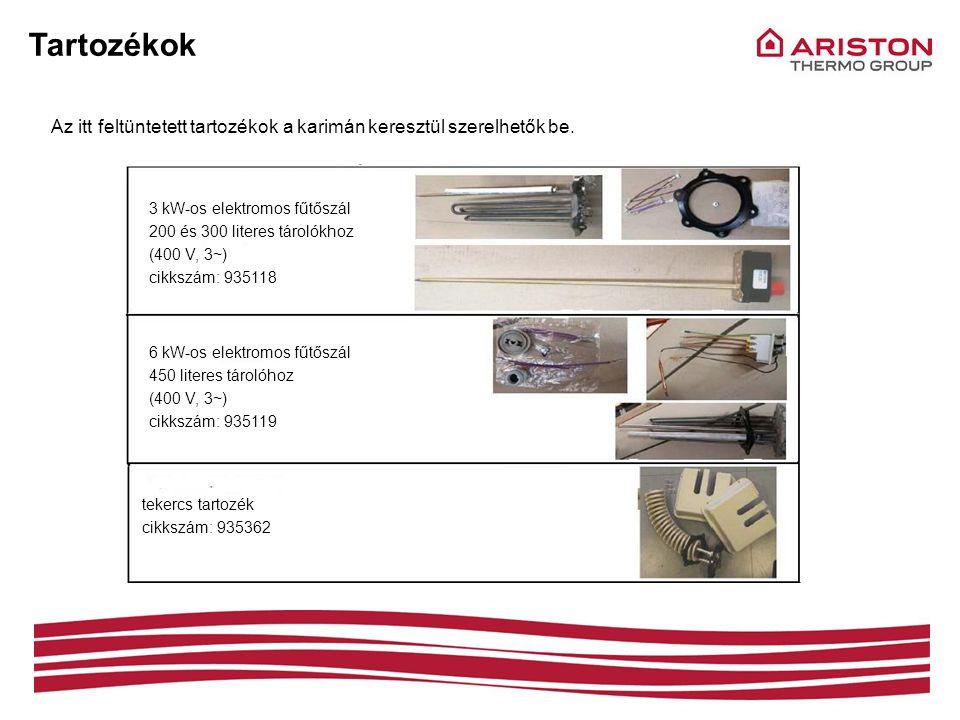 Tartozékok Az itt feltüntetett tartozékok a karimán keresztül szerelhetők be. 3 kW-os elektromos fűtőszál.