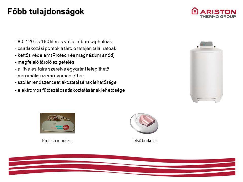 Főbb tulajdonságok 80, 120 és 160 literes változatban kaphatóak