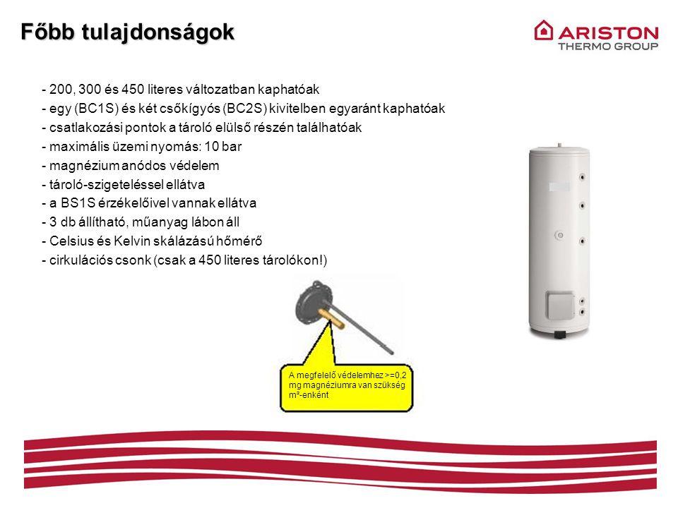 Főbb tulajdonságok 200, 300 és 450 literes változatban kaphatóak