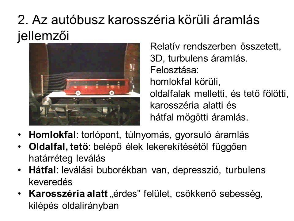 2. Az autóbusz karosszéria körüli áramlás jellemzői