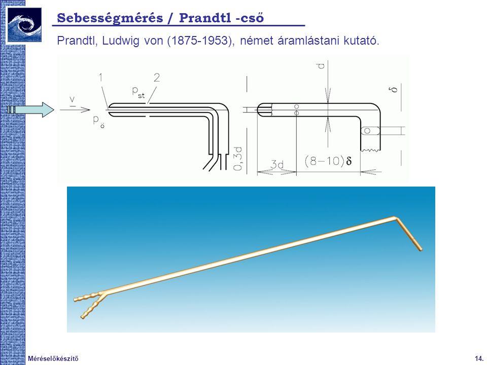 Sebességmérés / Prandtl -cső
