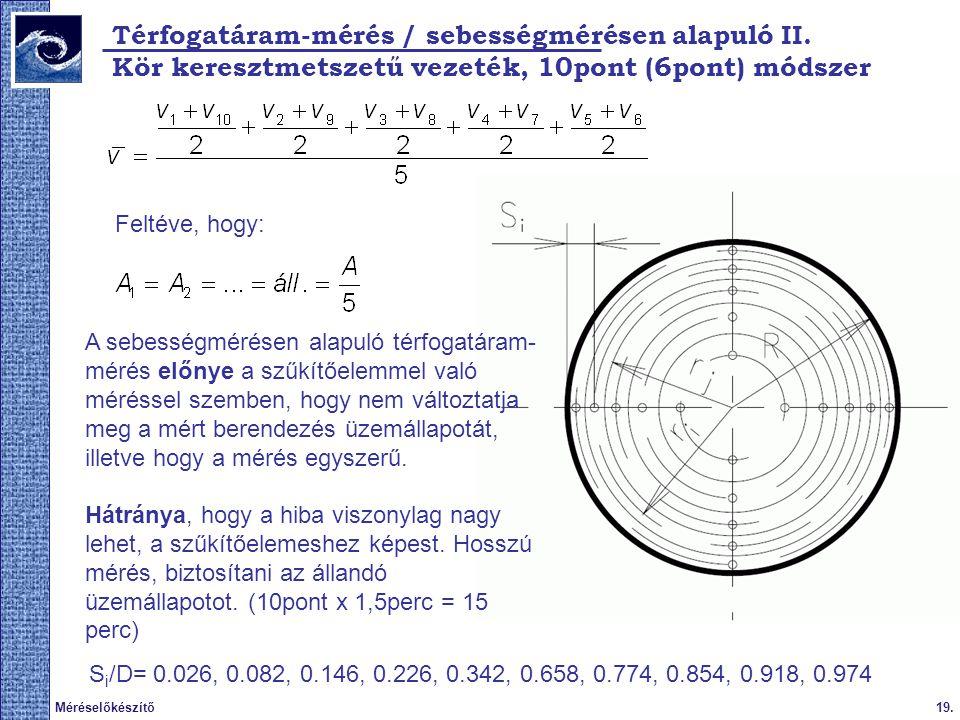 Térfogatáram-mérés / sebességmérésen alapuló II.
