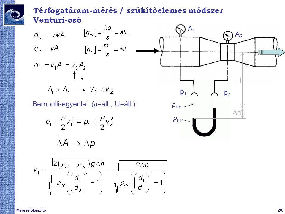 Térfogatáram-mérés / szűkítőelemes módszer Venturi-cső