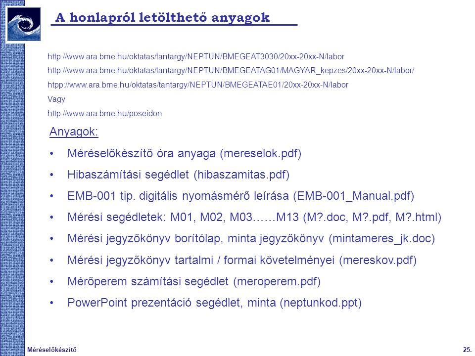 A honlapról letölthető anyagok