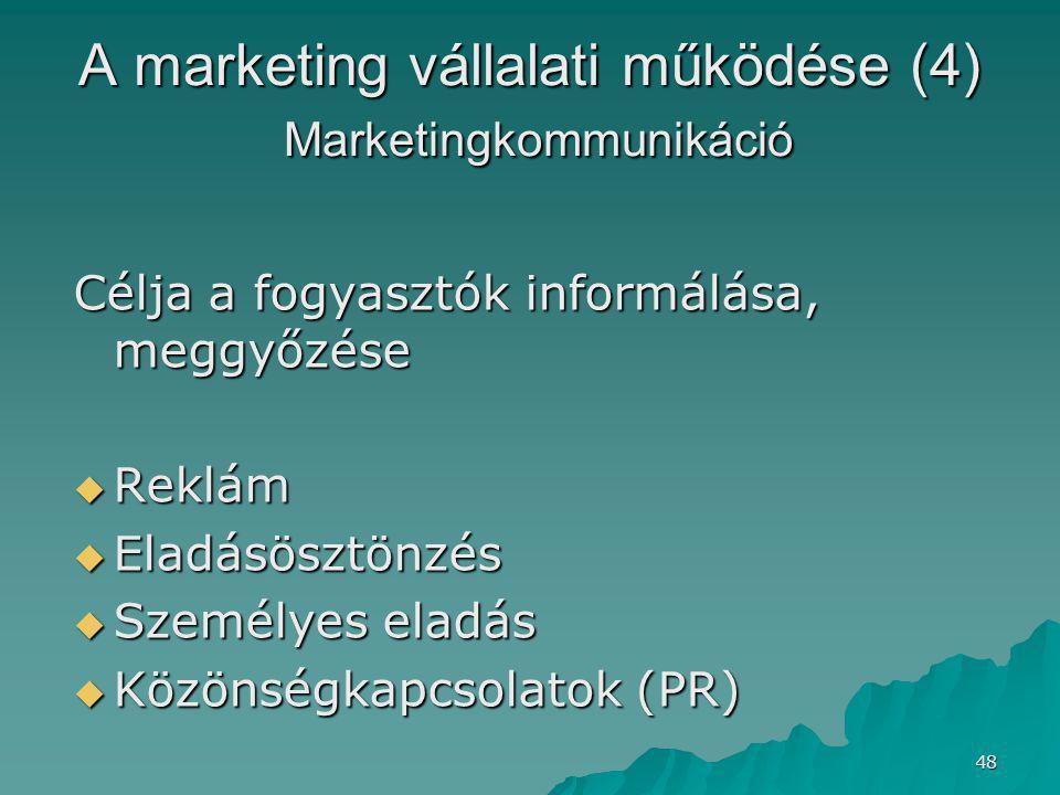 A marketing vállalati működése (4) Marketingkommunikáció