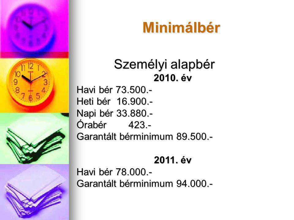 Minimálbér Személyi alapbér 2010. év Havi bér 73.500.-