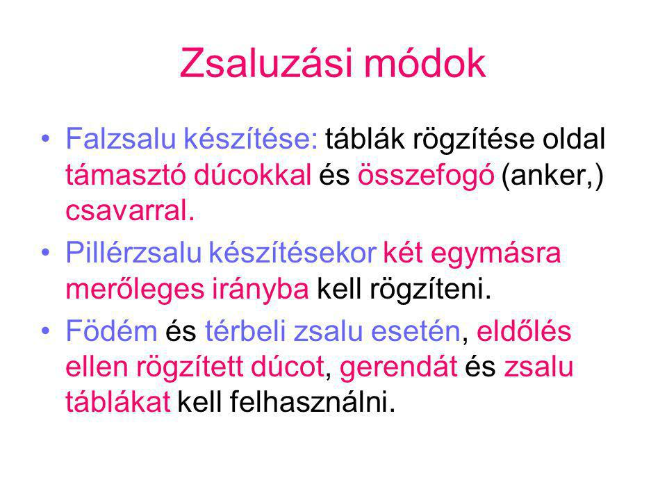Zsaluzási módok Falzsalu készítése: táblák rögzítése oldal támasztó dúcokkal és összefogó (anker,) csavarral.