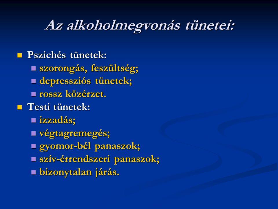 Az alkoholmegvonás tünetei: