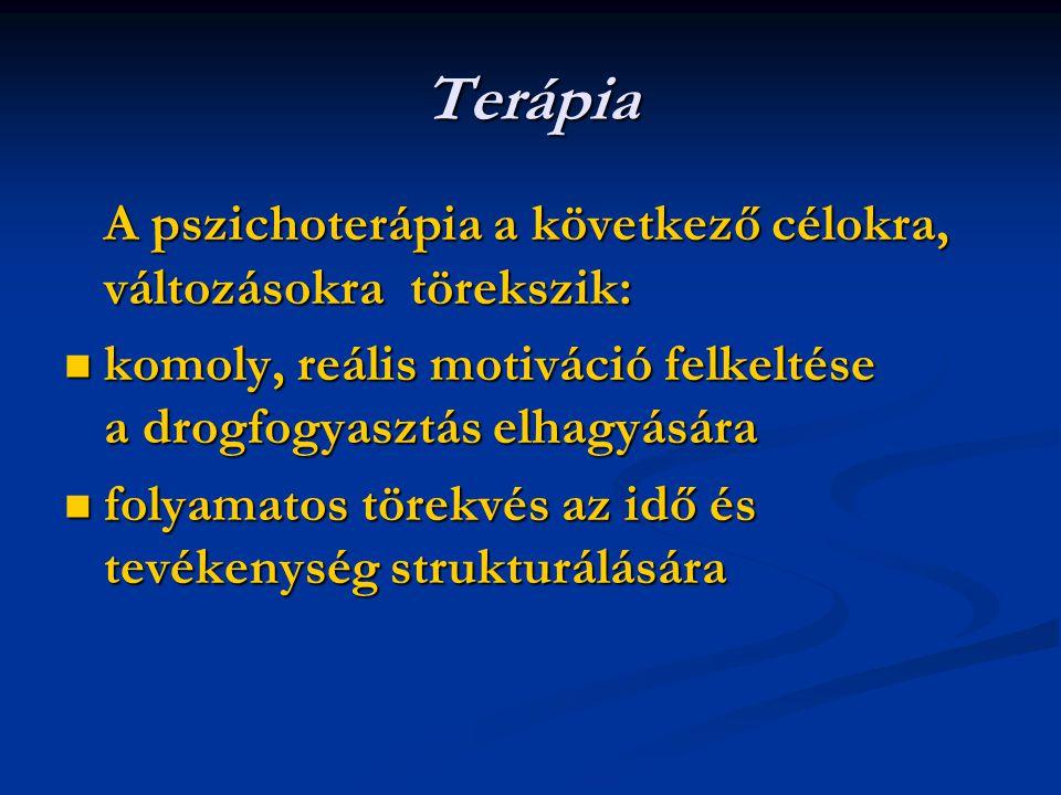 Terápia A pszichoterápia a következő célokra, változásokra törekszik:
