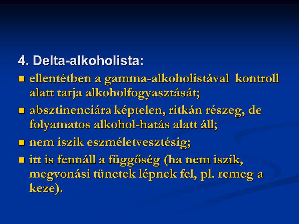 4. Delta-alkoholista: ellentétben a gamma-alkoholistával kontroll alatt tarja alkoholfogyasztását;