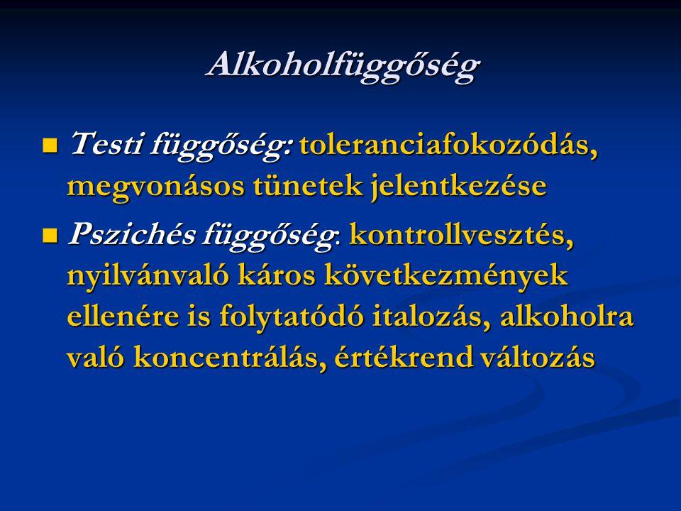 Alkoholfüggőség Testi függőség: toleranciafokozódás, megvonásos tünetek jelentkezése.