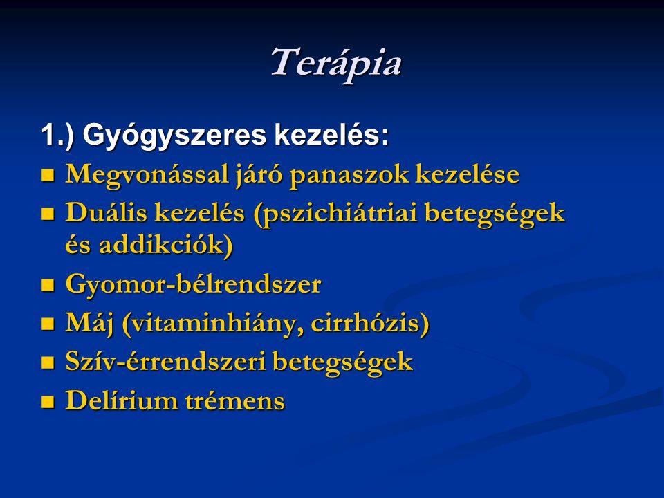Terápia 1.) Gyógyszeres kezelés: Megvonással járó panaszok kezelése