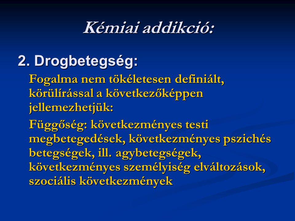 Kémiai addikció: 2. Drogbetegség: