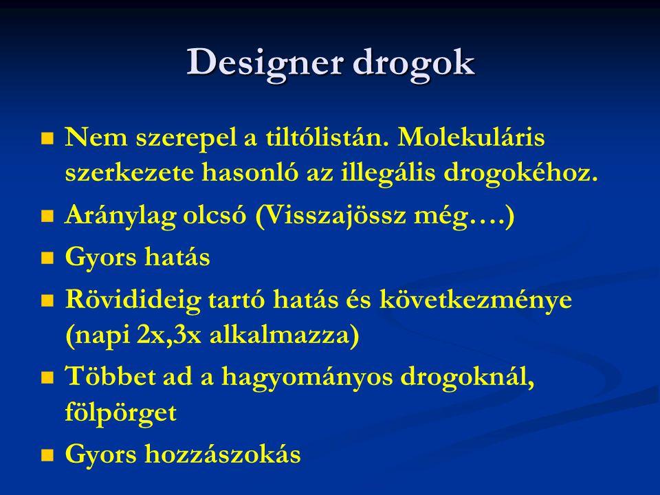 Designer drogok Nem szerepel a tiltólistán. Molekuláris szerkezete hasonló az illegális drogokéhoz.