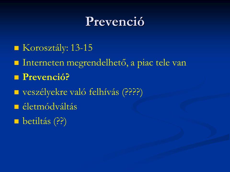 Prevenció Korosztály: 13-15 Interneten megrendelhető, a piac tele van