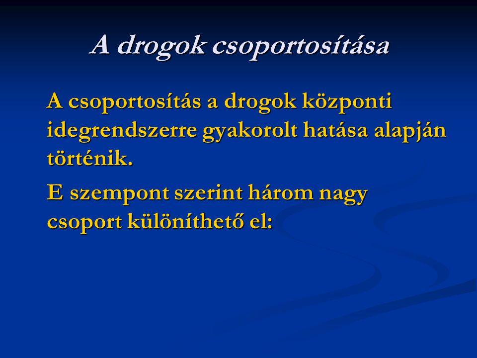 A drogok csoportosítása