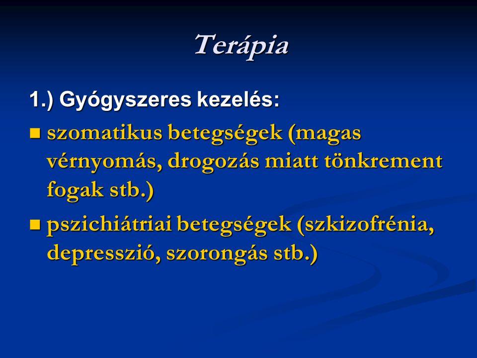 Terápia 1.) Gyógyszeres kezelés: szomatikus betegségek (magas vérnyomás, drogozás miatt tönkrement fogak stb.)