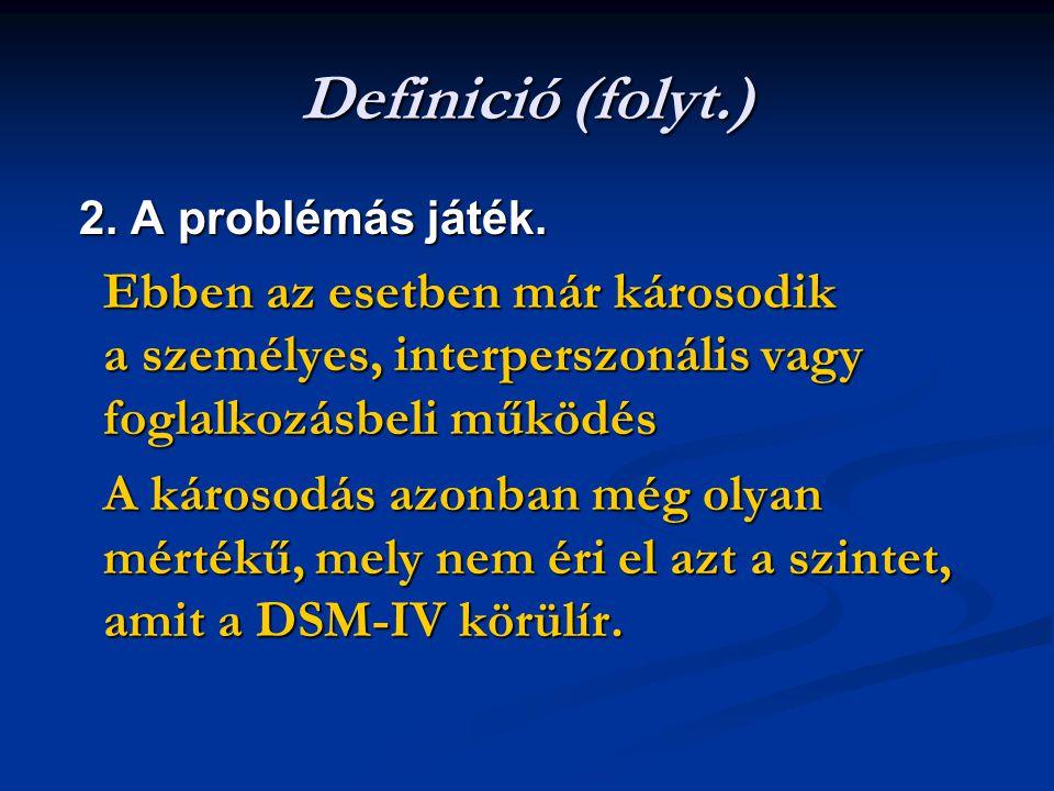 Definició (folyt.) 2. A problémás játék. Ebben az esetben már károsodik a személyes, interperszonális vagy foglalkozásbeli működés.