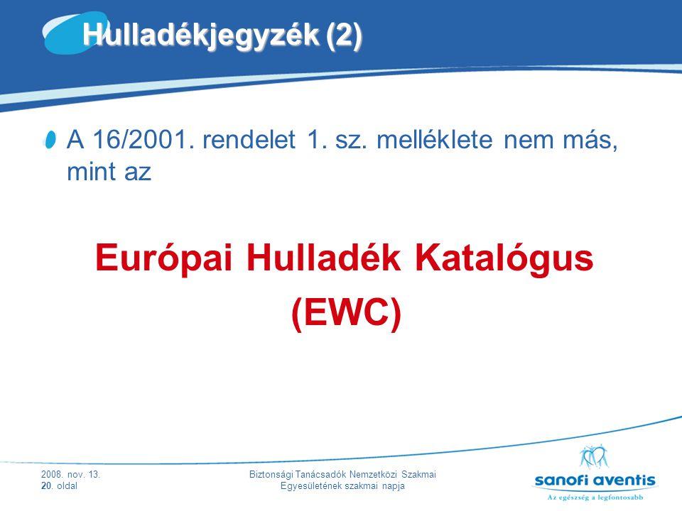 (EWC) Hulladékjegyzék (2)