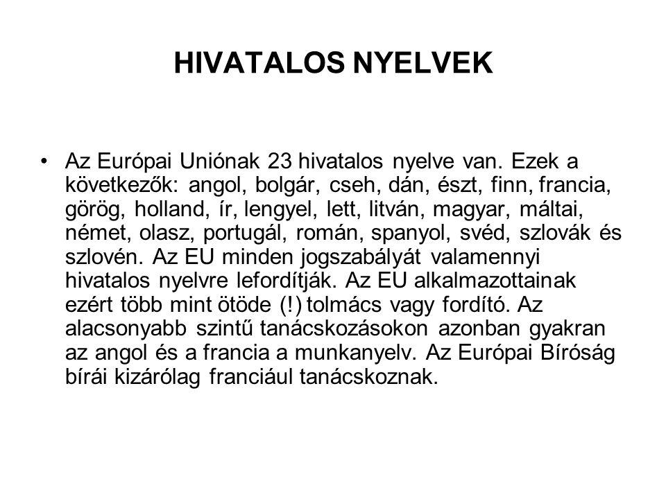 HIVATALOS NYELVEK