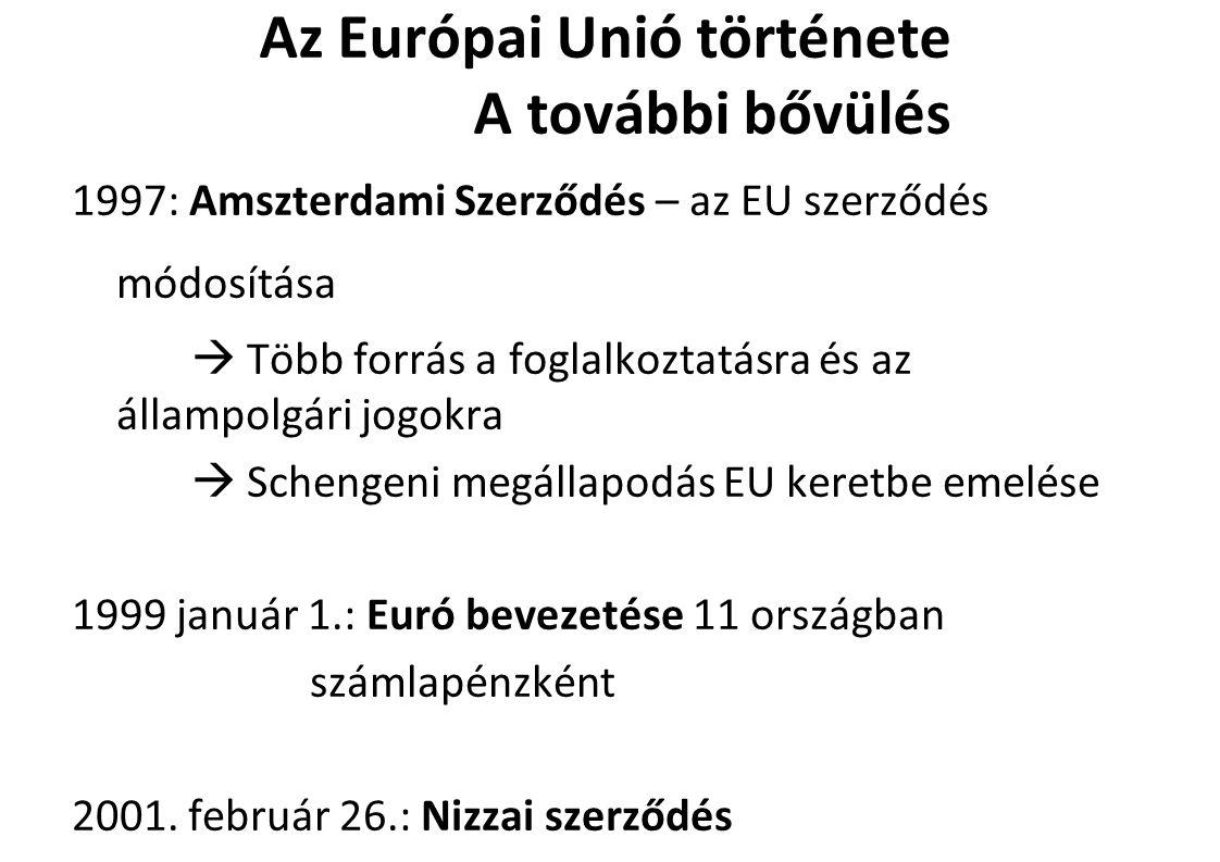 Az Európai Unió története A további bővülés