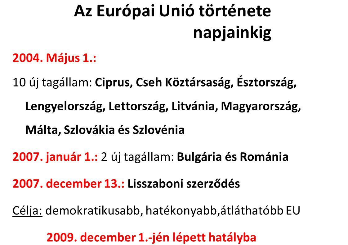 Az Európai Unió története napjainkig