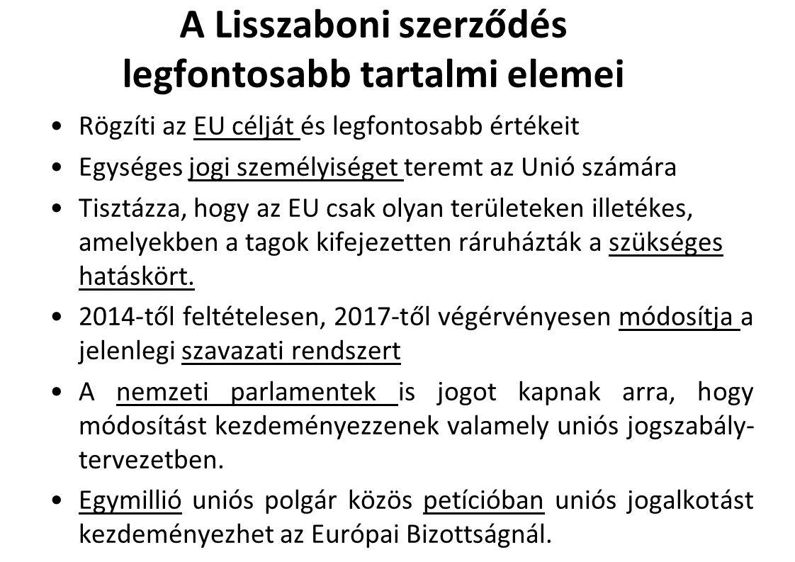 A Lisszaboni szerződés legfontosabb tartalmi elemei