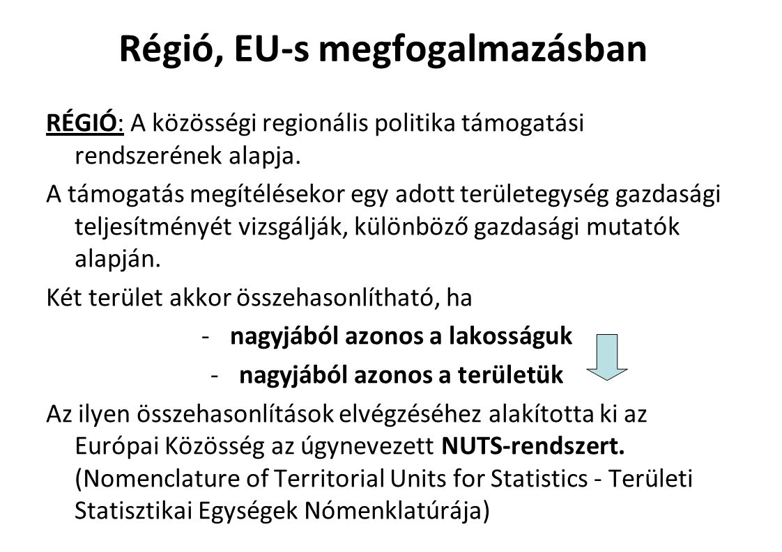 Régió, EU-s megfogalmazásban