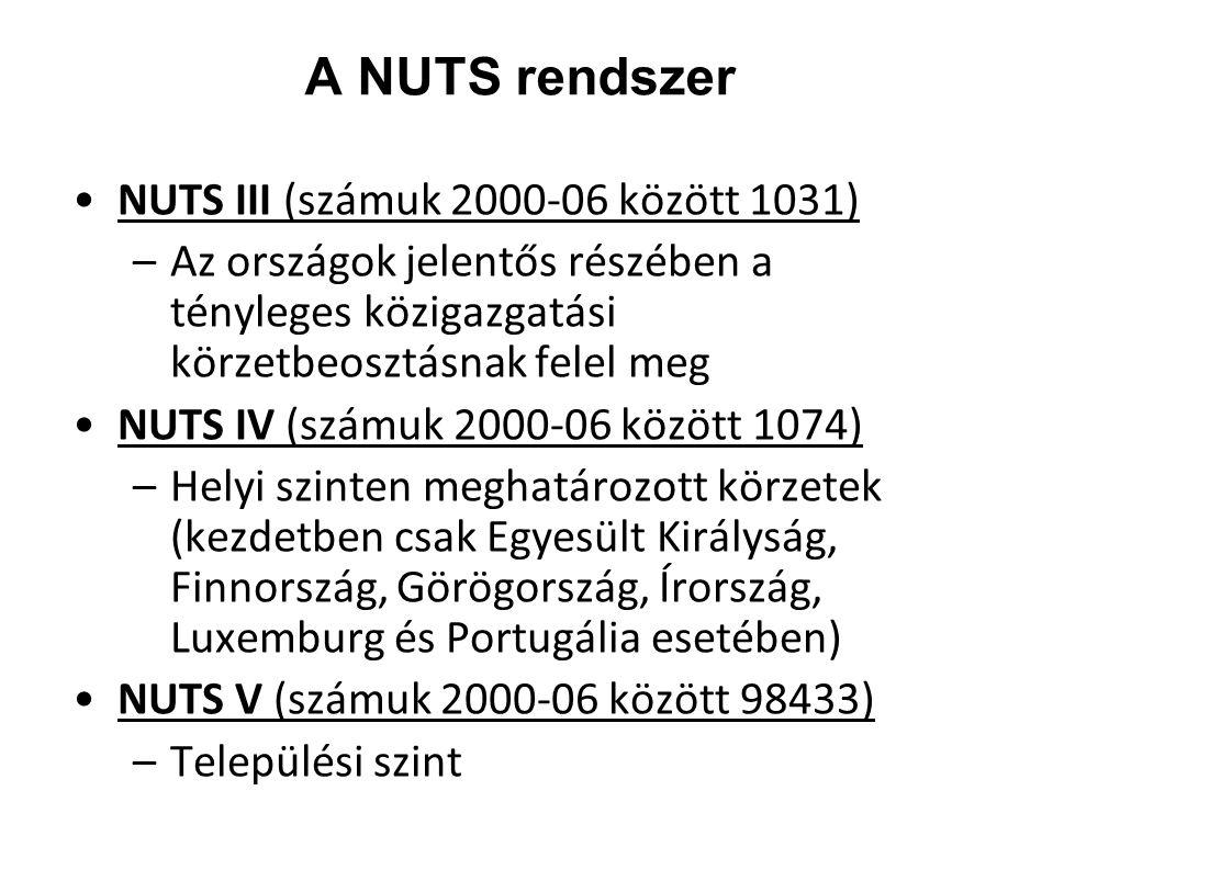 A NUTS rendszer NUTS III (számuk 2000-06 között 1031)