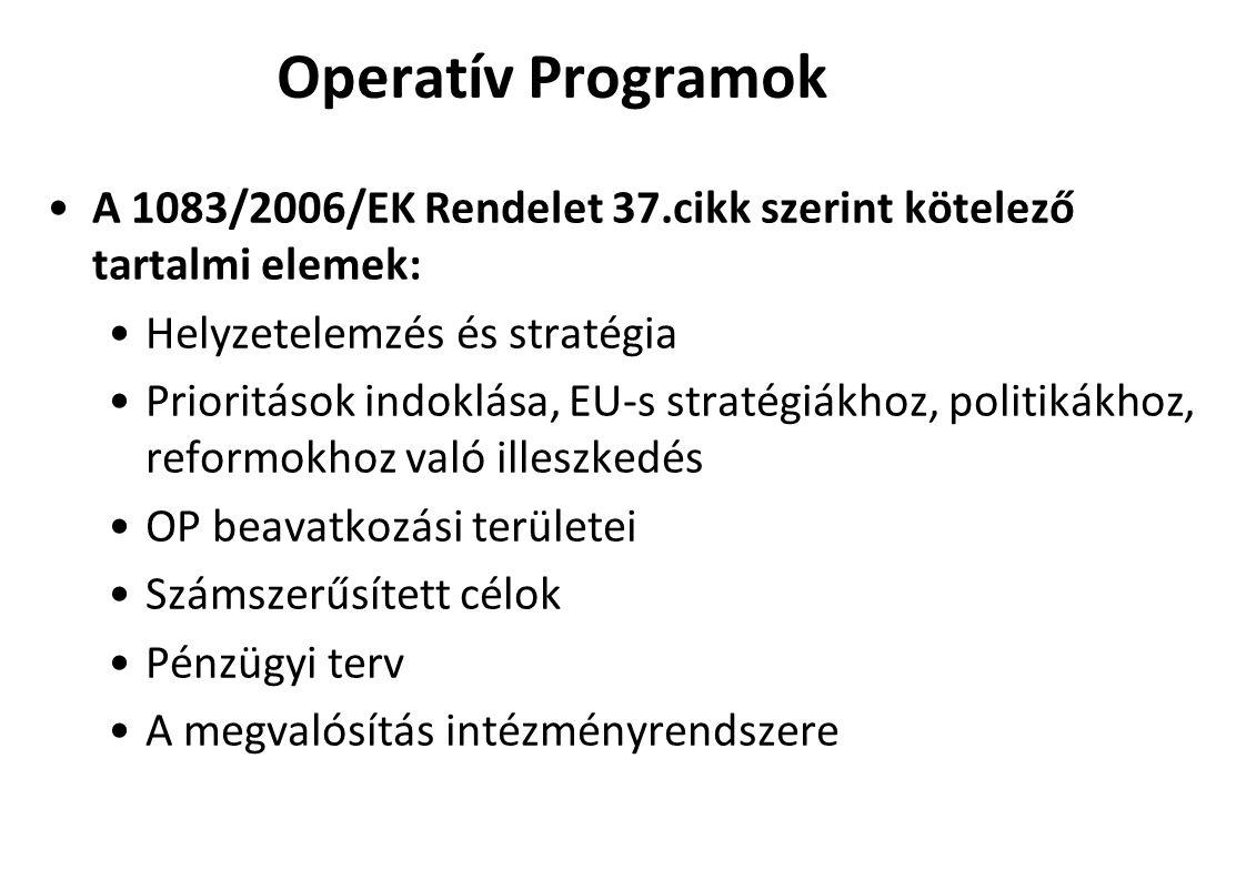 Operatív Programok A 1083/2006/EK Rendelet 37.cikk szerint kötelező tartalmi elemek: Helyzetelemzés és stratégia.
