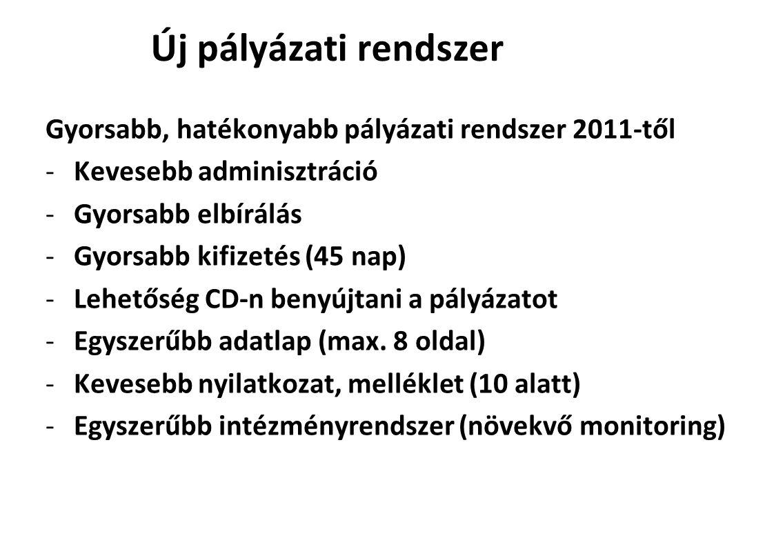 Új pályázati rendszer Gyorsabb, hatékonyabb pályázati rendszer 2011-től. Kevesebb adminisztráció. Gyorsabb elbírálás.