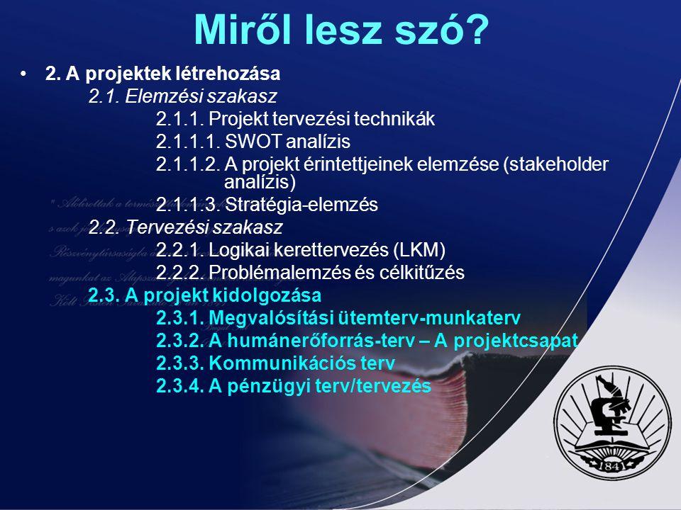Miről lesz szó 2. A projektek létrehozása 2.1. Elemzési szakasz