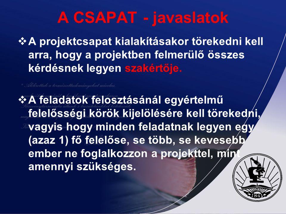 A CSAPAT - javaslatok A projektcsapat kialakításakor törekedni kell arra, hogy a projektben felmerülő összes kérdésnek legyen szakértője.