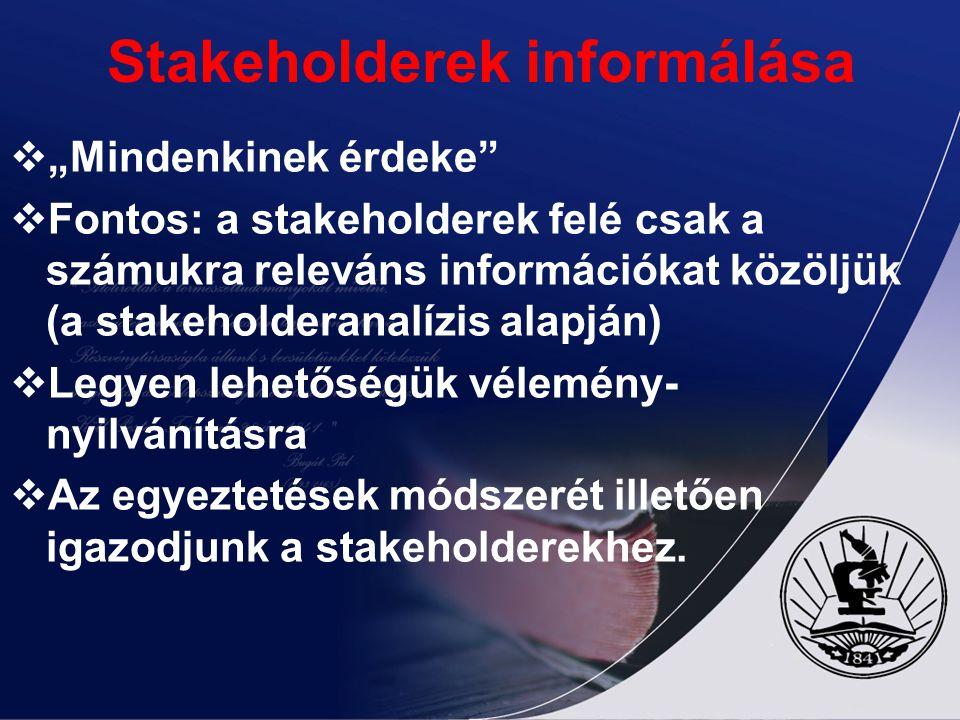 Stakeholderek informálása