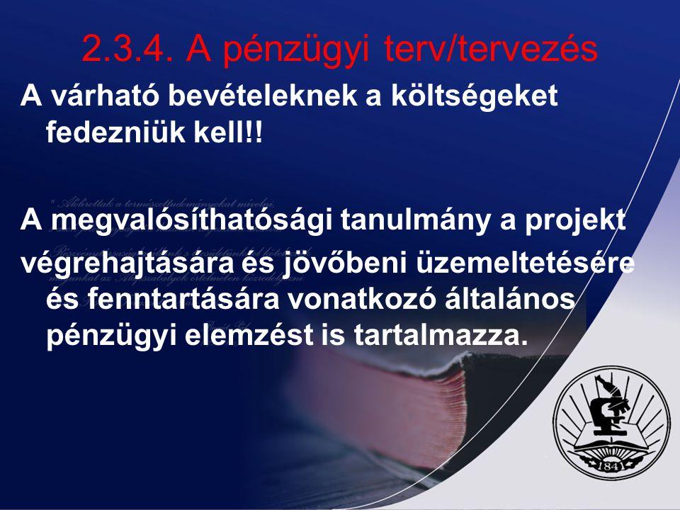 2.3.4. A pénzügyi terv/tervezés