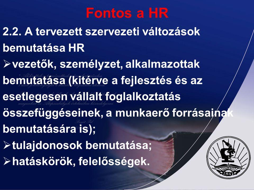 Fontos a HR 2.2. A tervezett szervezeti változások bemutatása HR