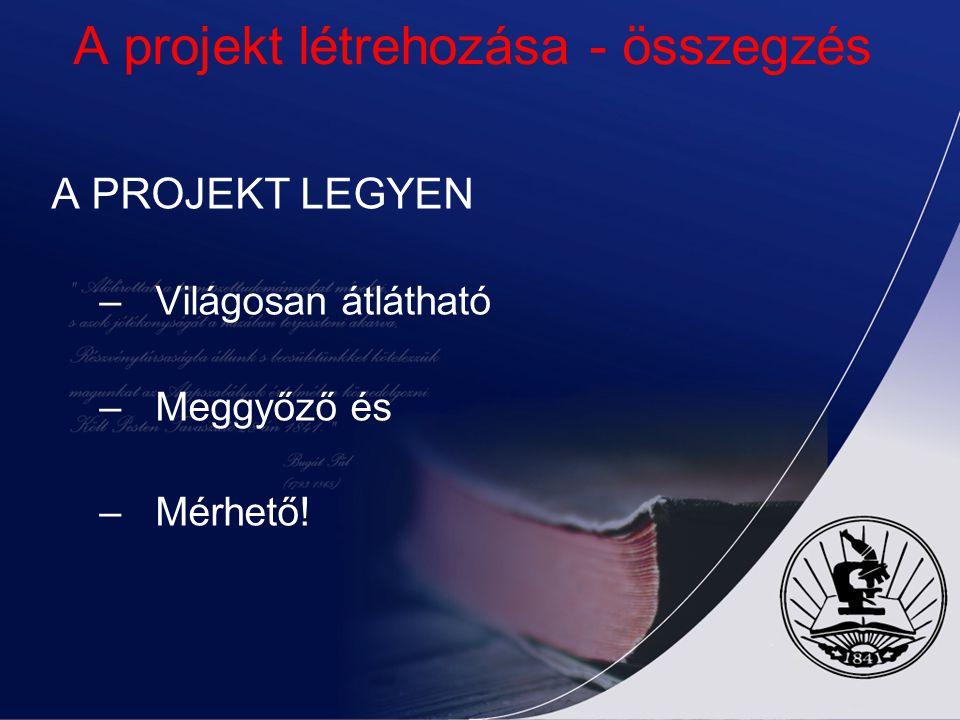 A projekt létrehozása - összegzés