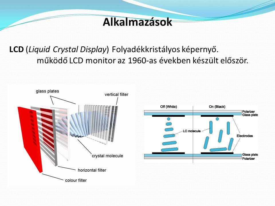 Alkalmazások LCD (Liquid Crystal Display) Folyadékkristályos képernyő.
