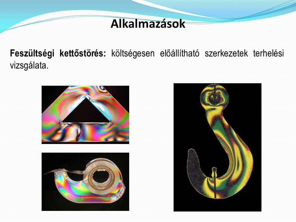 Alkalmazások Feszültségi kettőstörés: költségesen előállítható szerkezetek terhelési vizsgálata.