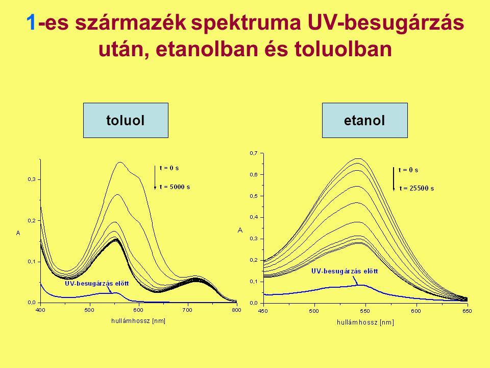 1-es származék spektruma UV-besugárzás után, etanolban és toluolban