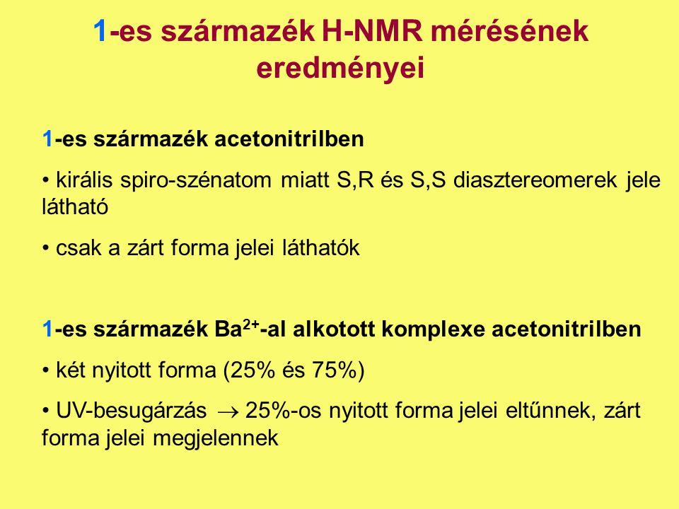 1-es származék H-NMR mérésének eredményei