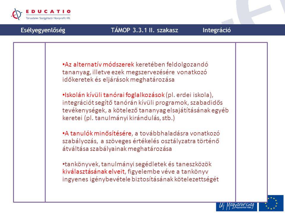 Esélyegyenlőség TÁMOP 3.3.1 II. szakasz. Integráció.