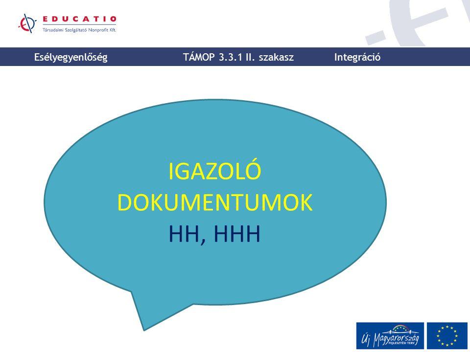 IGAZOLÓ DOKUMENTUMOK HH, HHH Esélyegyenlőség TÁMOP 3.3.1 II. szakasz