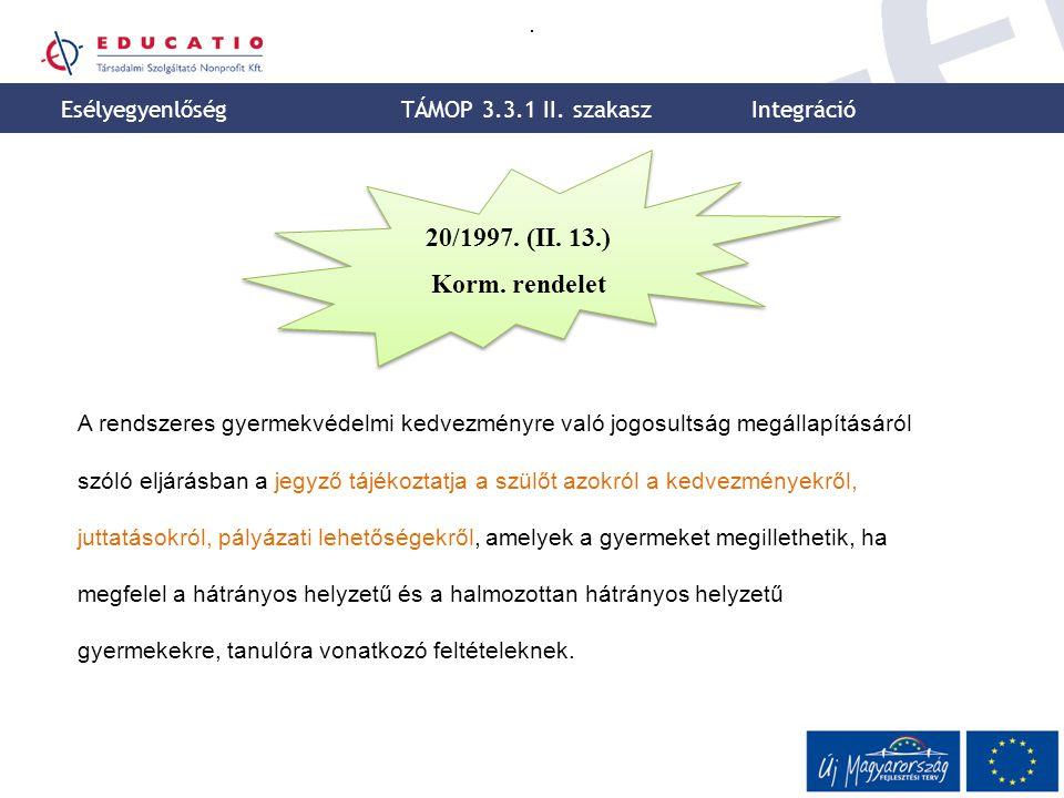 20/1997. (II. 13.) Korm. rendelet Esélyegyenlőség
